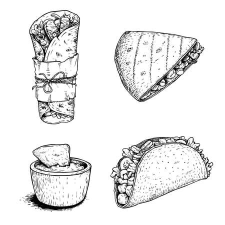 Hand drawn sketch style mexican food set. Nacho with sauce, burrito, taco and quesadilla. Traditional Mexico food in vintage handmade style. Vector illustration for menu designs and package