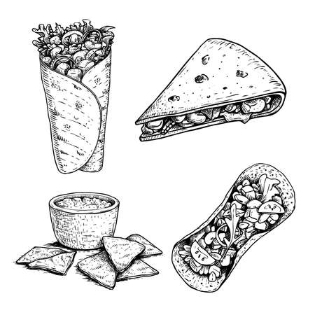 Hand drawn sketch style mexican food set. Nachos with sauce, burrito, taco and quesadilla. Traditional Mexico food in vintage hanmdade style. Vector illustration for menu designs and package.
