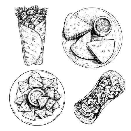 Hand drawn sketch style mexican food set. Top view. Nachos with sauce on plate, burrito, taco and quesadillas on plate. Traditional Mexico food in vintage handmade style. Vector illustration for menu designs and package.