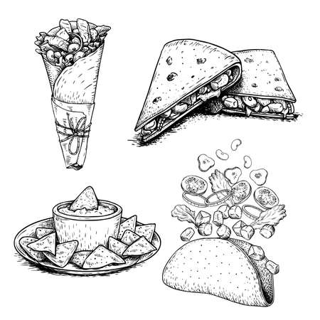 Hand drawn sketch style mexican food set. Nachos with sauce on plate, burrito, taco flying ingredients and quesadilla. Traditional Mexico food in vintage handmade style. Vector illustration for menu designs and package.