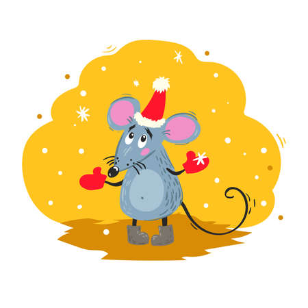Cartoon funny mouse in Santa hat looks on snowflakes. 2020 Year Chinese symbol. Comic mascot. Rat or mouse character. Rodent animal. Scratchy style. Vector illustration on colorful background. 向量圖像