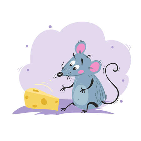 Cartoon funny mouse sniffing the cheese. 2020 Year Chinese symbol. Comic mascot sitting. Rat or mouse character. Rodent animal. Scratchy style. Vector illustration on colorful background.