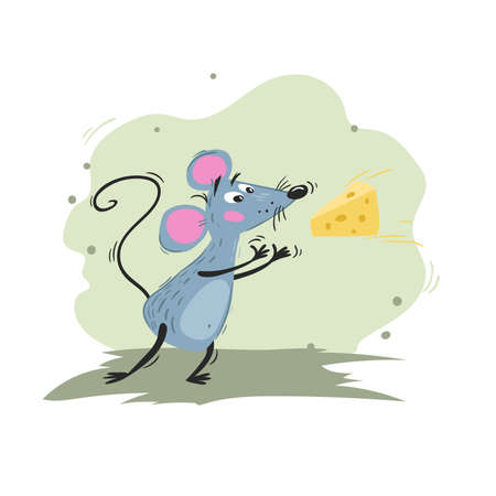 Mouse catches cheese. Cartoon funny scratchy illustration of mouse or rat. 2020 Year mascot. Comic character. Domestic animal. Vector picture.