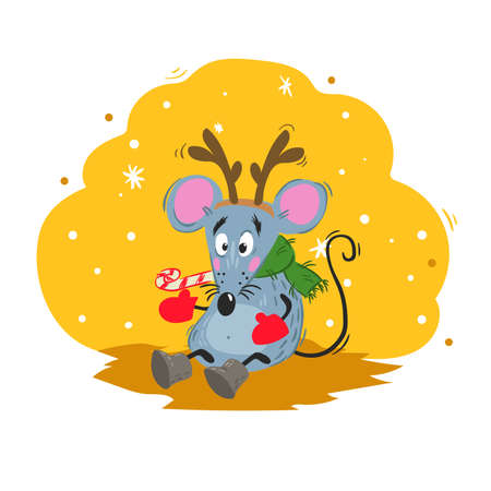 Cartoon funny mouse in reindeer horns mask. 2020 Year Chinese symbol. Comic mascot. Rat or mouse character. Rodent animal. Scratchy style. Vector illustration on colorful background. 向量圖像