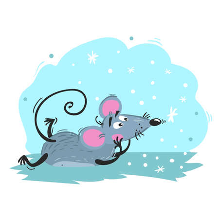 Cartoon funny mouse lies and looks on snowflakes. 2020 Year Chinese symbol. Comic mascot. Rat or mouse character. Rodent animal. Scratchy style. Vector illustration on colorful background.