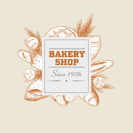 Bakery shop round banner. Hand drawn sketch style. Buns, loafs, baguette, rolls, spikes. Best for bakery shop designs and flyers. Vector illustrations.