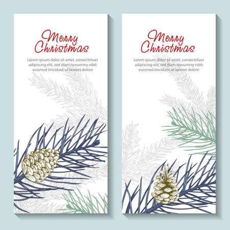 Christmas banners set. Hand drawn illustration flyers with pine cone, evergreen, fir tree. Greeting cards. Merry Christmas decorations in retro sketch style. Vector drawings.