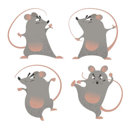 Kung Fu mice set. Cartoon illustrations of comic mouse fighters. Symbols of 2020 year by Chinese Horoscope. Different poses. Martial arts mascots. Vector drawings isolated on white.