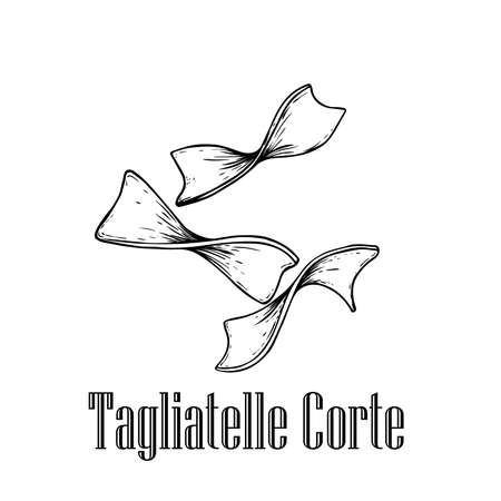 Italian pasta Tagliatelle Corte. Home made pasta. Hand drawn sketch style illustration of traditional italian food. Best for menu designs and packaging. Vector drawing isolated on white background.