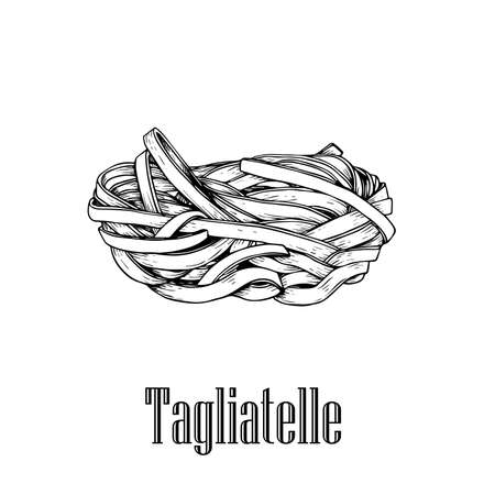 Italian pasta Tagliatelle. Home made pasta. Hand drawn sketch style illustration of traditional italian food. Best for menu designs and packaging. Vector drawing isolated on white background.