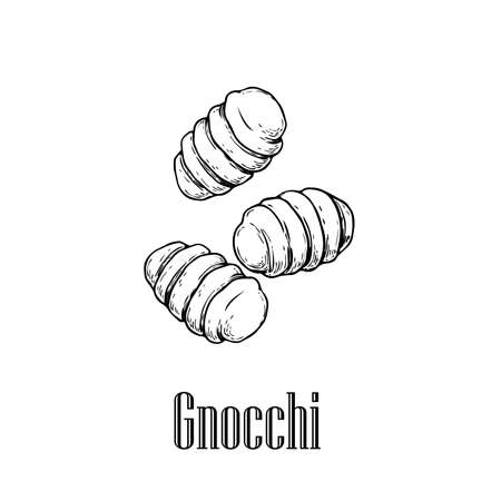 Italian pasta Gnocchi. Home made pasta. Hand drawn sketch style illustration of traditional italian food. Best for menu designs and packaging. Vector drawing isolated on white background. 向量圖像