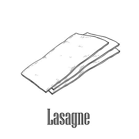 Italian pasta Lasagne. Hand drawn sketch style illustration of traditional italian food. Best for menu designs and packaging. Vector drawing isolated on white background.