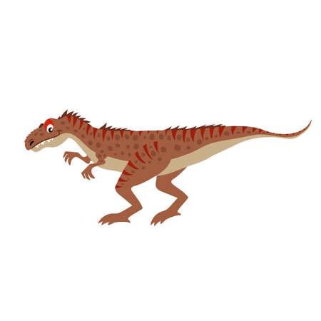 Cartoon Allosaurus. Flat simple style carnivore dinosaur. Jurassic world predator animal. Vector illustration for kid education or party design elements. Isolated on white background. Illusztráció