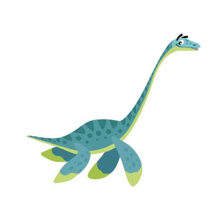 Cartoon Plesiosaurus. Flat simple style water dinosaur. Jurassic world sea animal. Vector illustration for kid education or party design elements. Isolated on white background.