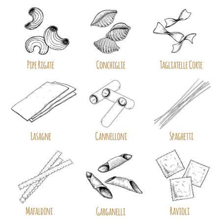 Hand drawn italian pasta set. Different types of traditional italian cuisine in sketch style with signs. Pipe rigate, conchiglie, tagliatelle corte, lasagne, cannelloni, spaghetti, mafaldini, garganelli, ravioli.