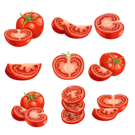Fresh cartoon tomatoes. Red vegetables in flat design. Cut and slices, single and group farm fresh tomatoes. Vector illustrations isolated on white background. Иллюстрация