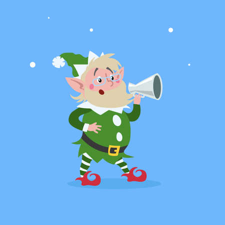 Cute cartoon elderly elf in googles and command through the speaking-trumpet. Christmas funny character. Santa Claus helper. Elfish man. Isolated on blue background. Vector illustration.