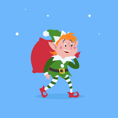 Cute cartoon elf walking and carries a bag or sack with Christmas gifts. Christmas funny character. Santa Claus helper. Elfish boy. Isolated on blue background. Vector illustration. Иллюстрация