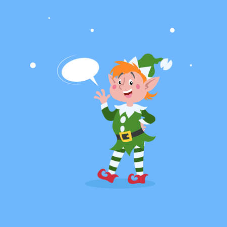 Cute cartoon elf with dummy speech bubble waving hand. Christmas funny character. Santa Claus helper. Elfish boy. Isolated on blue background. Vector illustration. Иллюстрация