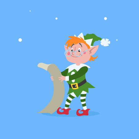 Cute cartoon elf in googles standing and reading the wish list scroll. Christmas funny character. Santa Claus helper. Elfish boy. Isolated on blue background. Vector illustration.