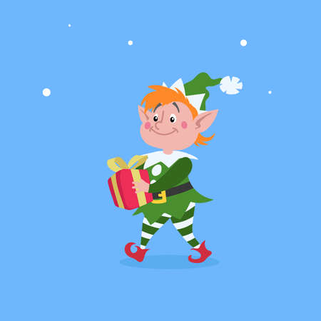 Cute cartoon elf walking and carries Christmas gift box. Christmas funny character. Santa Claus helper. Elfish boy. Isolated on blue background. Vector illustration.