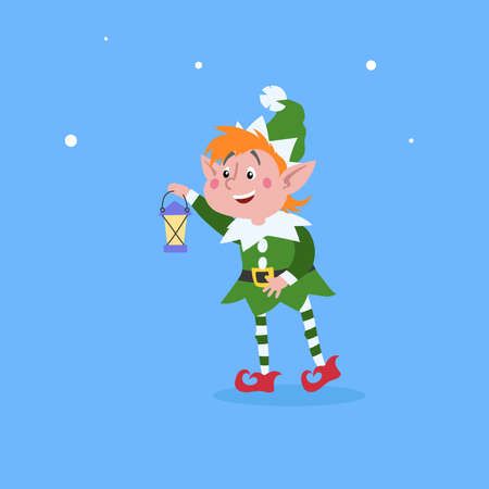Cute cartoon elf taking a vintage lantern. Christmas funny character. Santa Claus helper. Elfish boy. Isolated on blue background. Vector illustration.
