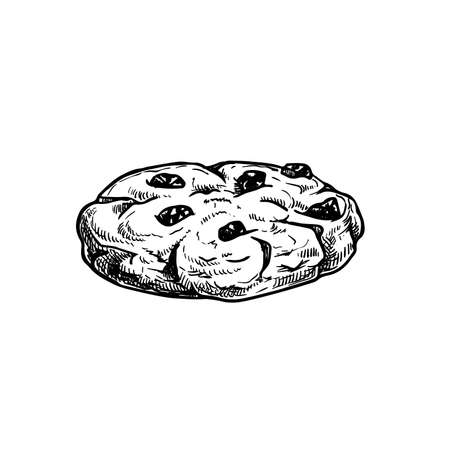 Chocolate chip cookie. Hand drawn sketch style. Fresh baked. American biscuit. Vector illustration isolated on white background.