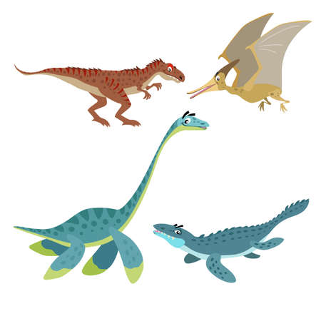 Cartoon dinosaurs set. Allosaurus, Plesiosaurus, Pteranodon and Mosasaurus. Land, flying and aquatic dinosaurs collection. Vector illustrations. Isolated on white background.