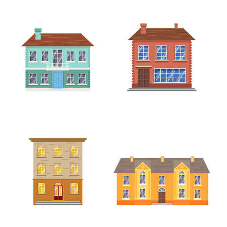 Cartoon buildings set. House exteriors. Different colors and styles. Front facades view. Vector illustrations collection isolated on white background.