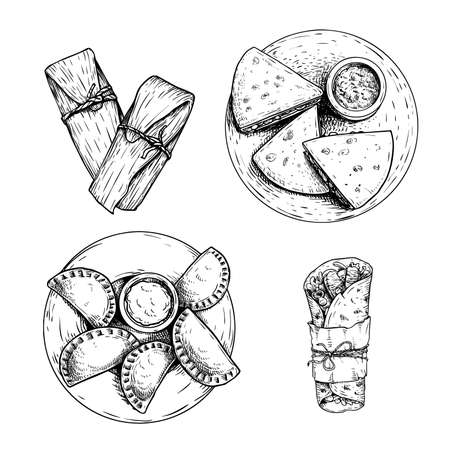 Mexican fast food set. Hand drawn sketch style. Top view. Tamales, Empanadas, Burritos and Quesadillas. Best for menu design and package. Vector illustrations isolated on white background.