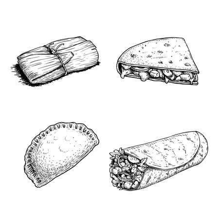 Mexican fast food set. Hand drawn sketch style. Tamales, Empanadas, Burritos and Quesadillas. Best for menu design and package. Vector illustrations isolated on white background.