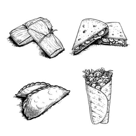 Mexican fast food set. Hand drawn sketch style. Tamales, Empanadas, Burritos and Quesadillas. Best for menu design and package. Vector illustrations isolated on white background. Vector Illustration
