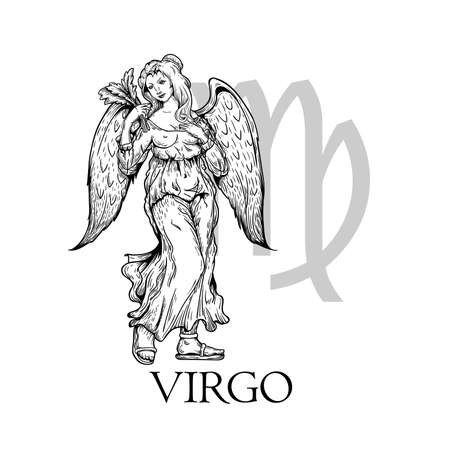 Hand drawn Virgo. Zodiac symbol in vintage gravure or sketch style. Mythical girl with wings (angel). Retro astrology constellation mysterious illustration isolated on white.