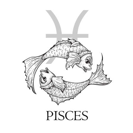 Hand drawn Pisces. Zodiac symbol in vintage gravure or sketch style. Old-fashioned fish in specific round shape. Retro astrology constellation mysterious illustration isolated on white.