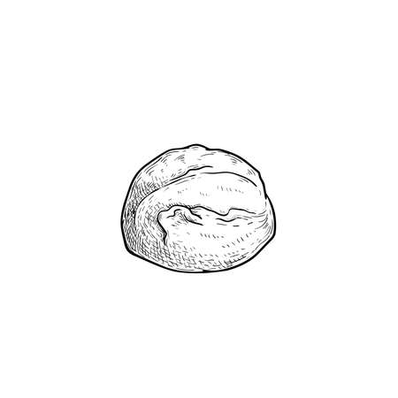 Mozzarella cheese ball. Hand drawn sketch style drawing of traditional Italian cheese. Fresh soft butter cheese. Vector illustration. 向量圖像