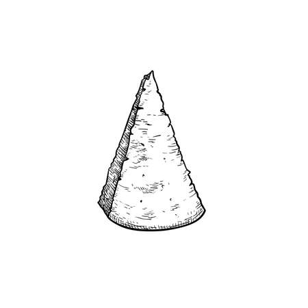 Parmesan (Parmegiano) cheese. Top view. Hand drawn sketch style drawing of traditional Italian hard cheese. Vector illustration isolated on white.