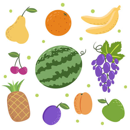 Doodle fruit set. Simple flat style vector icons. Pear, orange, bananas, cherry, watermelon, grape, pineapple, plum, apricot and green apple. 向量圖像
