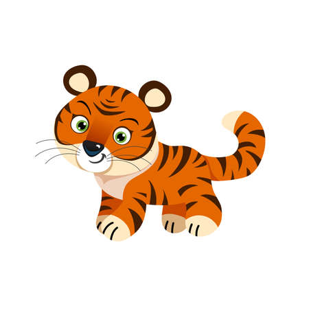 Cute little tiger. Chinese 2022 year symbol. Year of tiger. Cartoon mascot. Smiling adorable character. Vector illustration isolated on white background. Ilustracja
