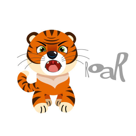 Cute little tiger roaring. Chinese 2022 year symbol. Year of tiger. Cartoon mascot. Smiling adorable character. Vector illustration isolated on white background. Ilustracja