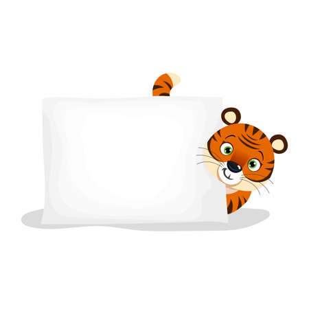 Cute little tiger with empty paper sheet. Chinese 2022 year symbol. Year of tiger mascot. Cartoon smiling adorable character. Vector illustration isolated on white background.