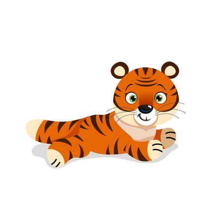 Cute little tiger in relaxing pose. Chinese 2022 year symbol. Year of tiger. Cartoon mascot. Smiling adorable character. Vector illustration isolated on white background.
