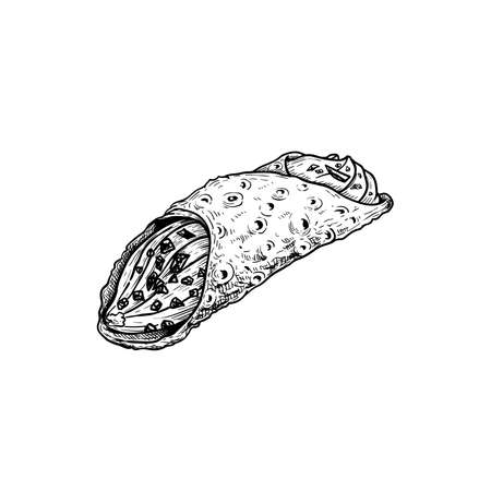 Hand drawn sketch style Italian dessert cannoli. Fried sweet pastry and ricotta cheese cream. Chocolate crispies decorated. Traditional Italian and Sicilian sweets. Vector illustration isolated on white. Ilustracja