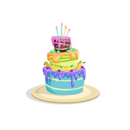 Birthday cake with icing, cream and cherry decorations. Cartoon style vector drawing. Dessert for celebration in funny style. Isolated on white.