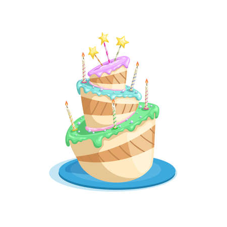 Birthdsy cake with stars, candles, colorful cream decorations. Cartoon style vector drawing. Dessert for celebration in funny style. Isolated on white. Иллюстрация