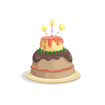 Birthday cake with candle, chocolate cream and cherry decorations. Cartoon style vector drawing. Dessert for celebration in funny style. Isolated on white. Иллюстрация