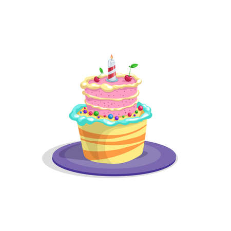 Birthday cake with candle, icing, cream and cherry decorations. Cartoon style vector drawing. Dessert for celebration in funny style. Isolated on white.