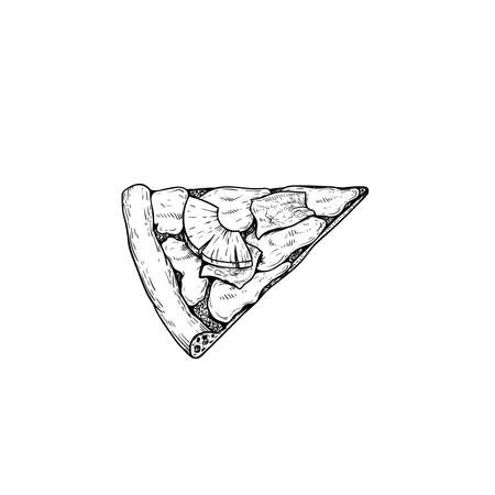 Hawaiian pizza piece. Top view. Hand drawn sketch style pizza drawing. Traditional international fast food. Best for menu designs and packages. Vector illustration.