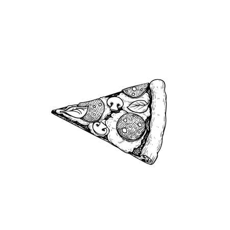 Pizza Pepperoni piece. Top view. Hand drawn sketch style drawing. Traditional Italian fast food. Best for menu designs and packages. Vector illustration.