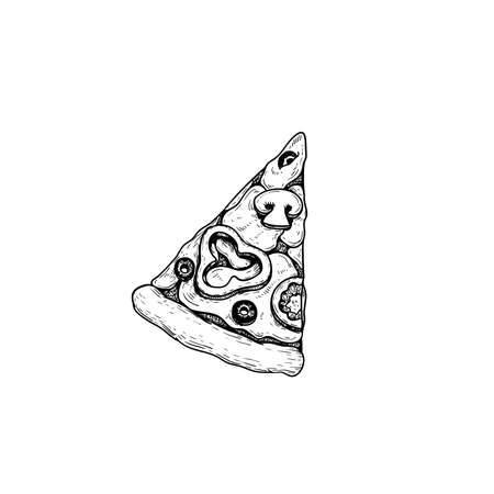 Vegetarian pizza piece. Top view. Hand drawn sketch style pizza drawing. Traditional Italian fast food. Best for menu designs and packages. Vector illustration.