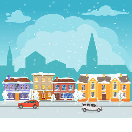 Snowy winter city urban street. Cityscape with buildings, cars and trees. Holiday card template.Winter Christmas village. Vector illustration. Иллюстрация
